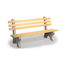 6' Wooden Park Bench (Natural Concrete Legs)