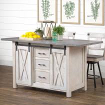 Lahoma Amish Kitchen Island with Sliding Barn Doors